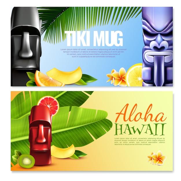 Bannières horizontales de la fête hawaïenne Vecteur gratuit