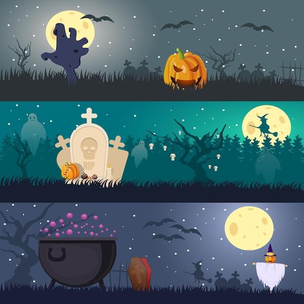 Bannières Horizontales Halloween Vecteur gratuit