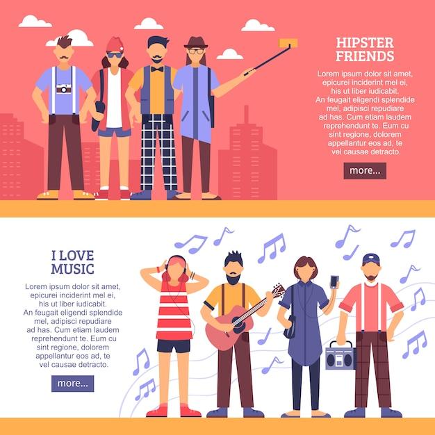 Bannières horizontales hipster Vecteur gratuit
