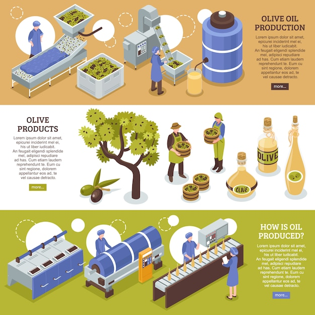 Bannières Horizontales D'huile D'olive Vecteur gratuit