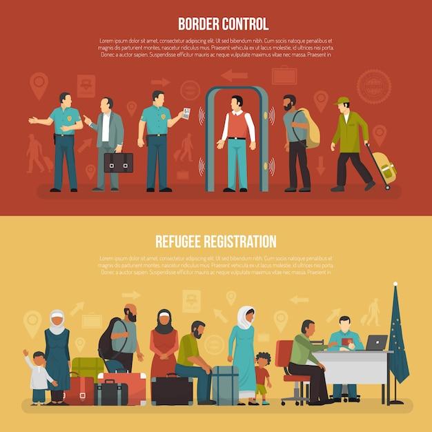 Bannières Horizontales D'immigration Vecteur gratuit
