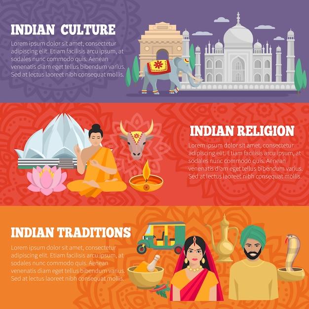 Bannières horizontales de l'inde sertie de traditions, de religion et de culture Vecteur gratuit