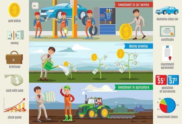 Bannières Horizontales D'infographie D'investissement Commercial Vecteur gratuit