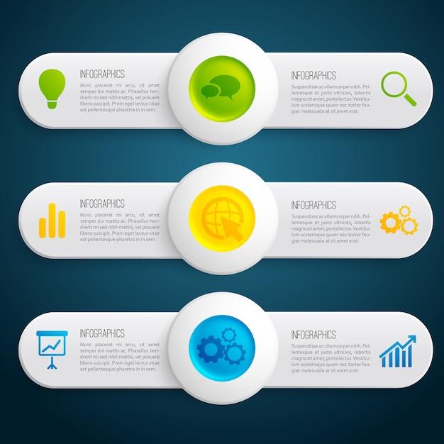 Bannières Horizontales Infographiques D'informations Commerciales Avec Des Cercles Colorés De Texte Et Des Icônes Sur L'illustration Sombre Vecteur gratuit