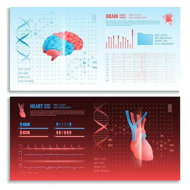 Bannières Horizontales D'interface Médicale Avec Système De Recherche D'images Réalistes Cœur Et Cerveau Et éléments Hud Vecteur gratuit