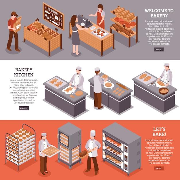 Bannières Horizontales Isométriques De Boulangerie Vecteur gratuit