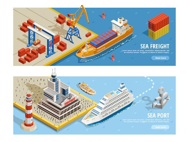 Bannières horizontales isométriques de transport maritime Vecteur gratuit