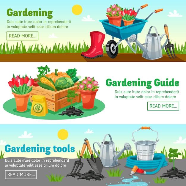 Bannières horizontales de jardinage Vecteur gratuit