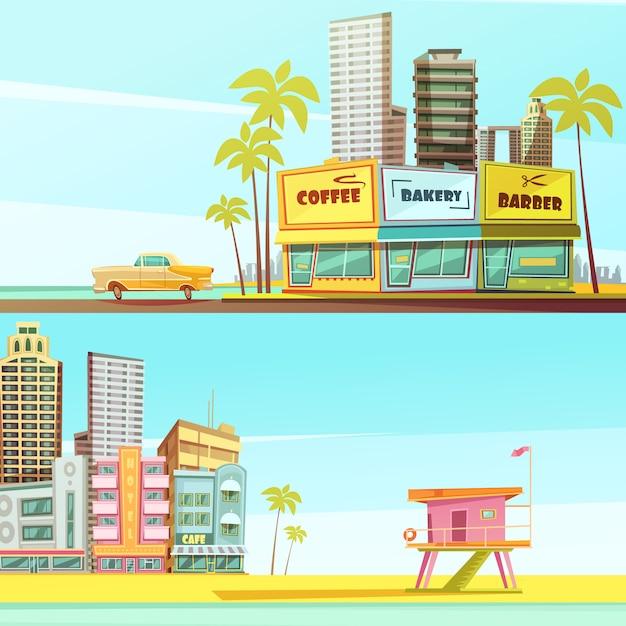 Bannières horizontales de miami beach dans le style de dessin animé avec cabine de sauveteur bord de mer barber boulangerie café Vecteur gratuit