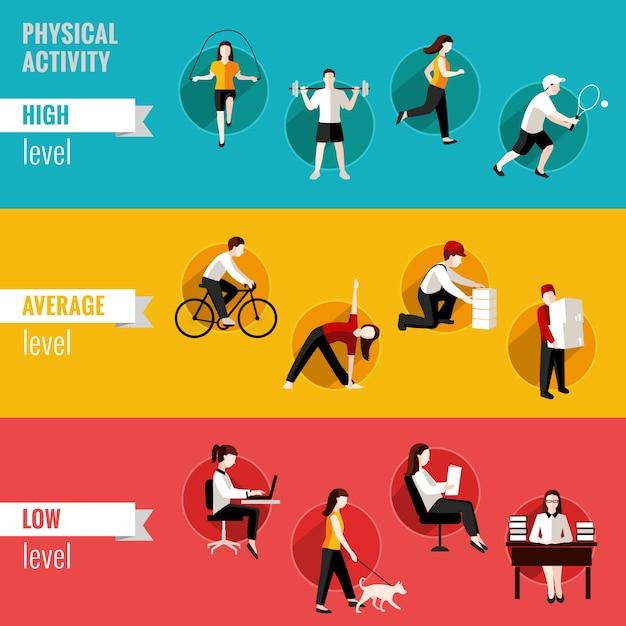 Les bannières horizontales moyennes moyennes et bas niveau élevé d'activité physique définissent une illustration vectorielle isolée Vecteur gratuit