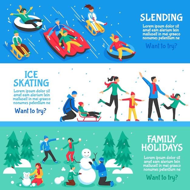 Bannières horizontales plates pour les vacances d'hiver Vecteur gratuit