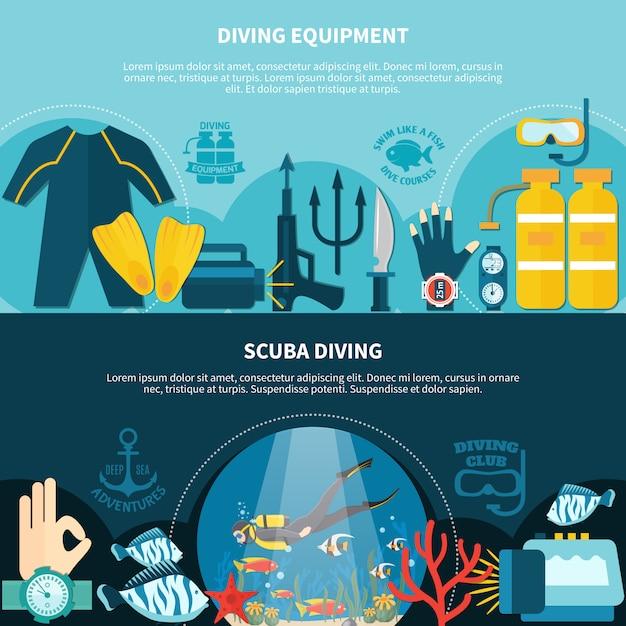 Bannières horizontales de plongée sous-marine Vecteur gratuit