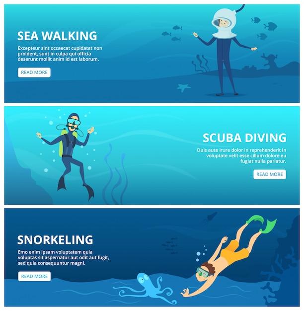 Bannières horizontales avec des plongeurs marins. personnages de dessins animés drôles Vecteur Premium