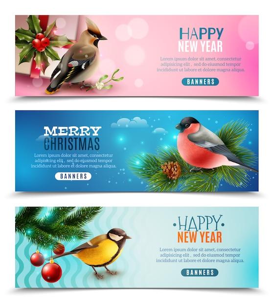 Bannières horizontales pour oiseaux d'hiver Vecteur gratuit