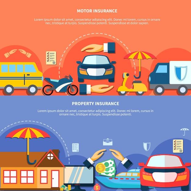 Bannières horizontales de protection des véhicules et des biens Vecteur gratuit