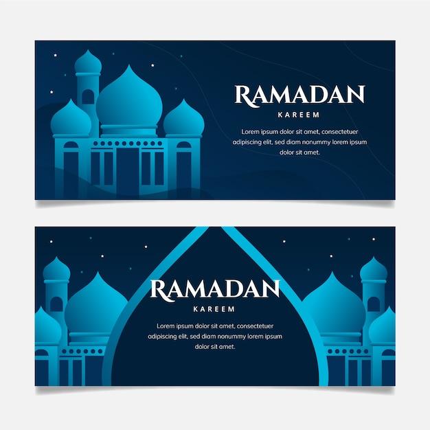 Bannières Horizontales Ramadan Design Plat Avec Détails Bleus Vecteur gratuit