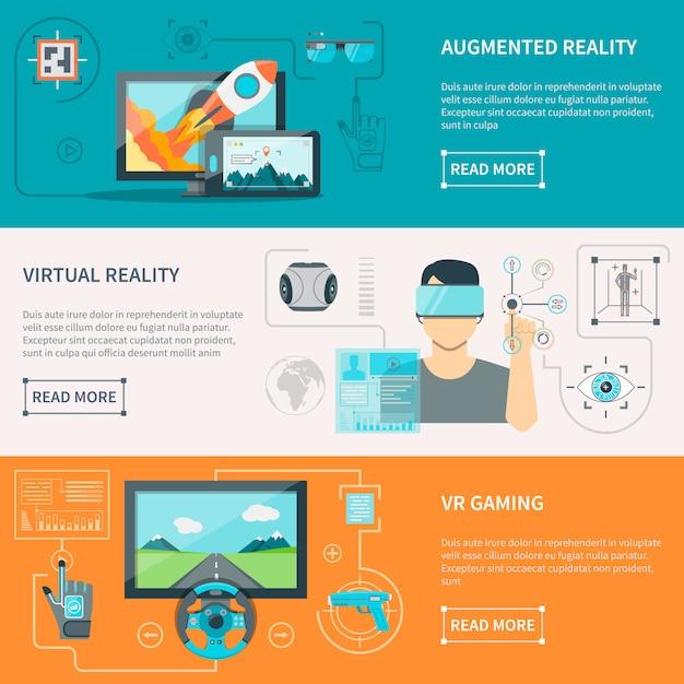 Bannières Horizontales De Réalité Augmentée Virtuelle Vecteur gratuit