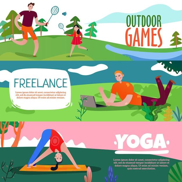 Bannières Horizontales De Repos De Parc Sertie De Symboles De Yoga Plat Isolé Vecteur gratuit