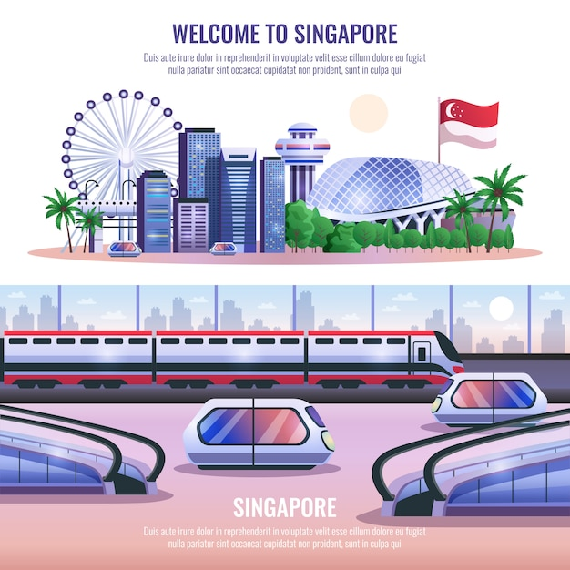 Bannières Horizontales De Singapour Vecteur gratuit