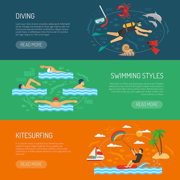 Bannières horizontales de sport aquatique Vecteur gratuit