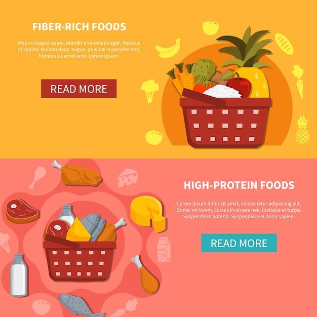 Bannières horizontales de supermarché alimentaire Vecteur gratuit