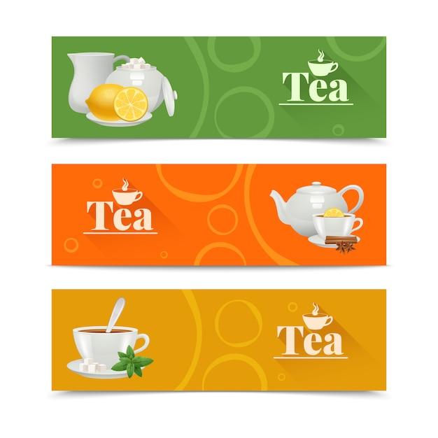 Bannières horizontales de thé sertie de service en porcelaine Vecteur gratuit