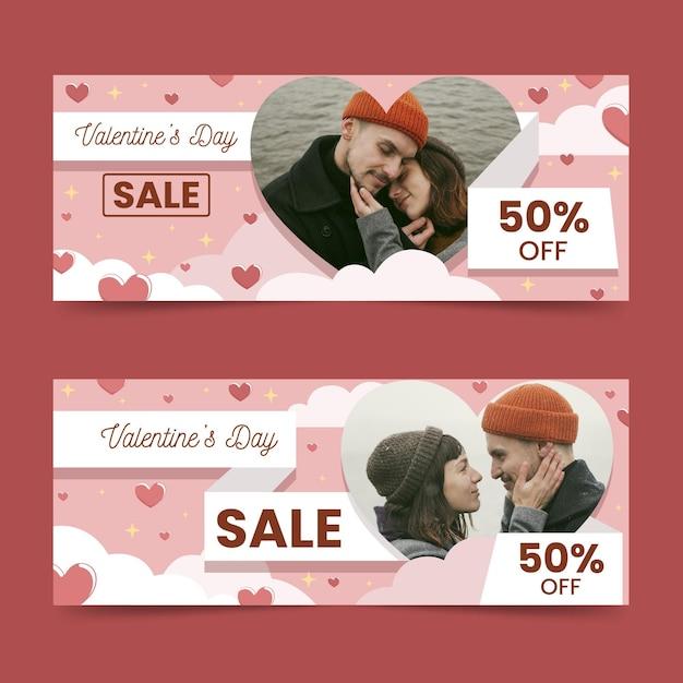Bannières Horizontales De Vente Saint Valentin Avec Photo Vecteur gratuit