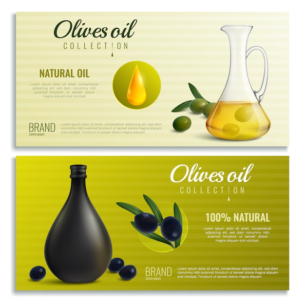 Bannières D'huile D'olives Réalistes Vecteur gratuit