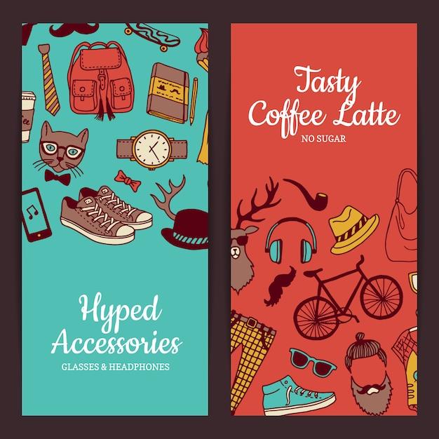 Bannières d'icônes hipster doodle Vecteur Premium