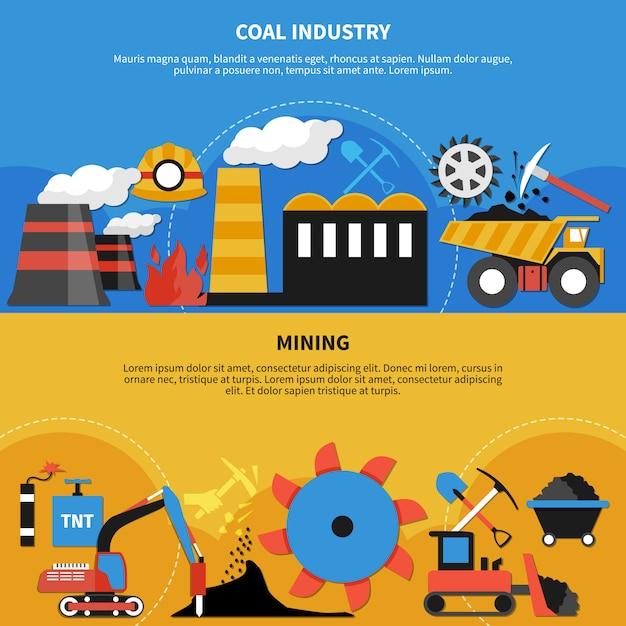 Bannières De L'industrie Minière Vecteur gratuit