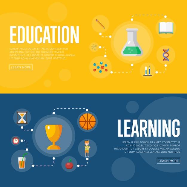 Bannières D'infographie De L'éducation Vecteur Premium