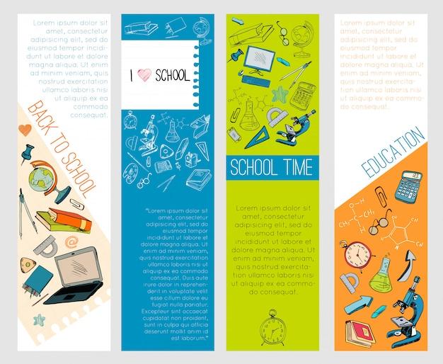Bannières infographiques de l'éducation scolaire icônes Vecteur Premium