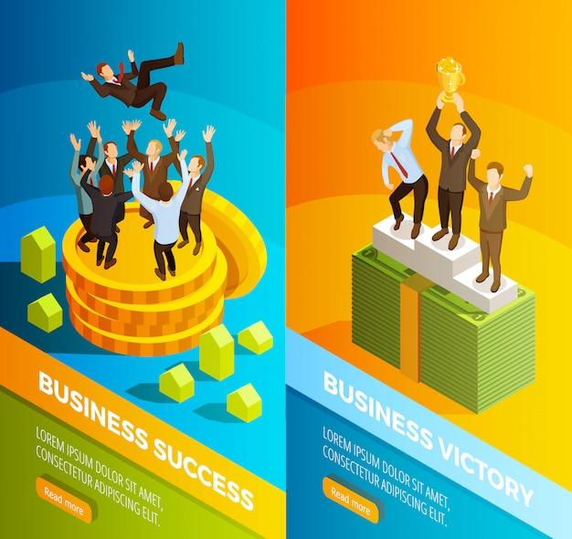Bannières isométriques de célébration de gens d'affaires réussie Vecteur gratuit