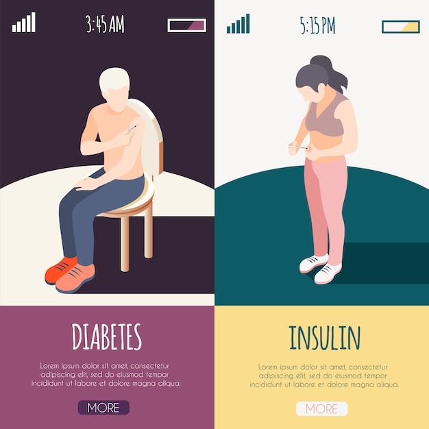 Bannières Isométriques De Diabète Avec Des Patients Masculins Et Féminins Se Donnant Un Coup D'illustration Vectorielle D'insuline Vecteur gratuit