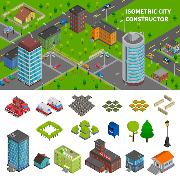 Bannières isométriques du constructeur de la ville Vecteur gratuit