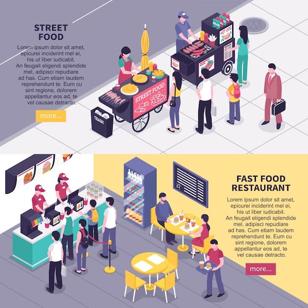 Bannières isométriques fast food Vecteur gratuit