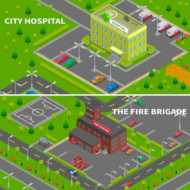Bannières isométriques d'hôpital et de caserne de pompiers Vecteur gratuit