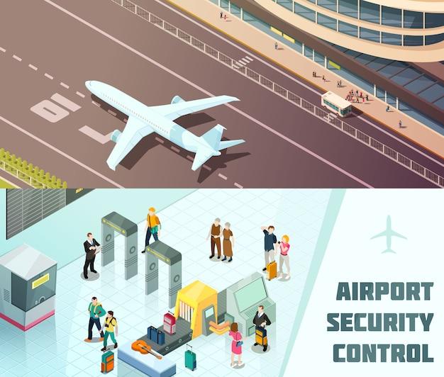 Bannières isométriques horizontales d'aéroport Vecteur gratuit