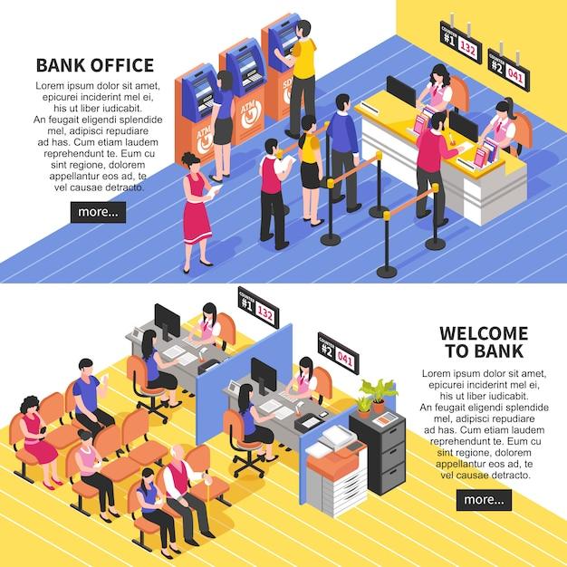 Bannières isométriques horizontales du bureau de la banque Vecteur gratuit