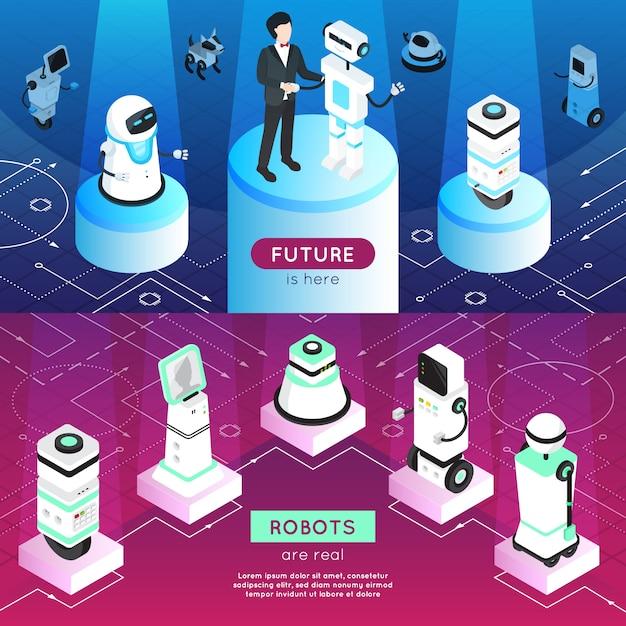 Bannières Isométriques Horizontales De Robots Vecteur gratuit