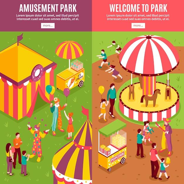 Bannières Isométriques De Parc D'attractions Vecteur gratuit