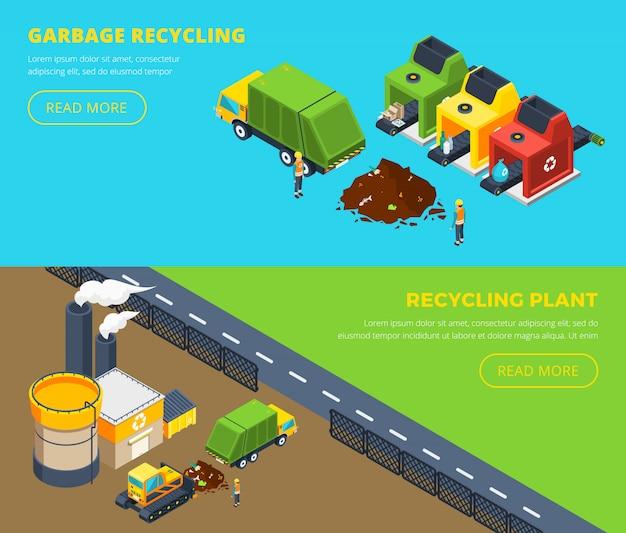 Bannières isométriques de recyclage des déchets Vecteur gratuit