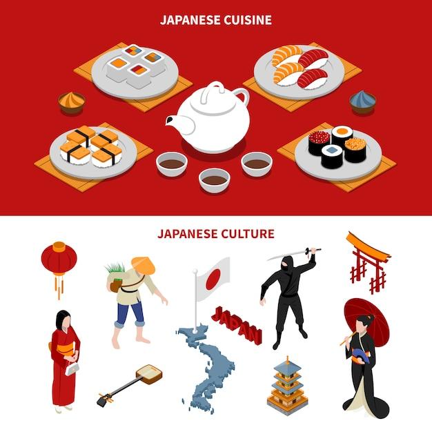 Bannières isométriques touristiques au japon Vecteur gratuit