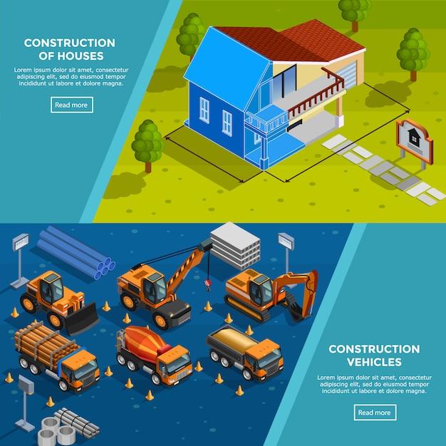 Bannières Isométriques De Véhicules De Construction Vecteur gratuit