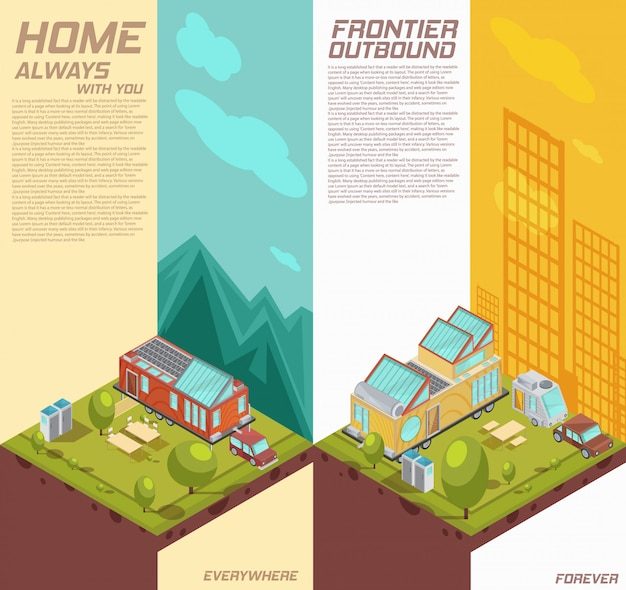 Bannières Isométriques Verticales Avec Publicité De Maison Mobile Sur Fond De Montagnes, Bâtiments De La Ville Isolés Illustration Vectorielle Vecteur gratuit
