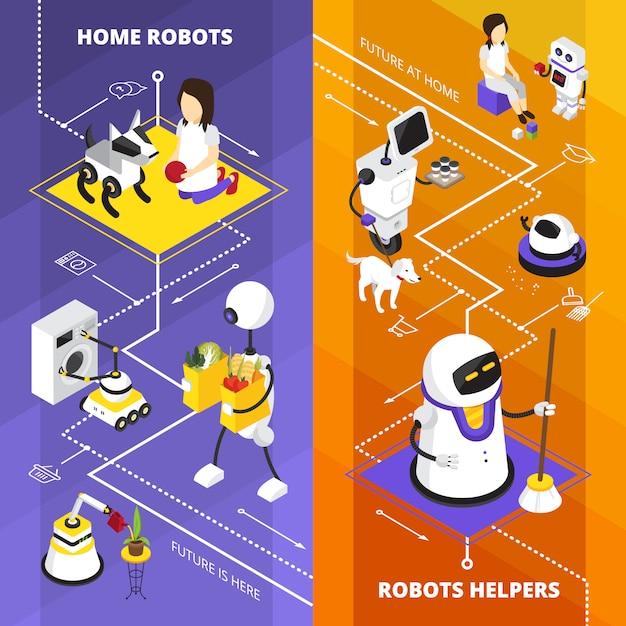 Bannières Isométriques Verticales Avec Des Robots Vecteur gratuit