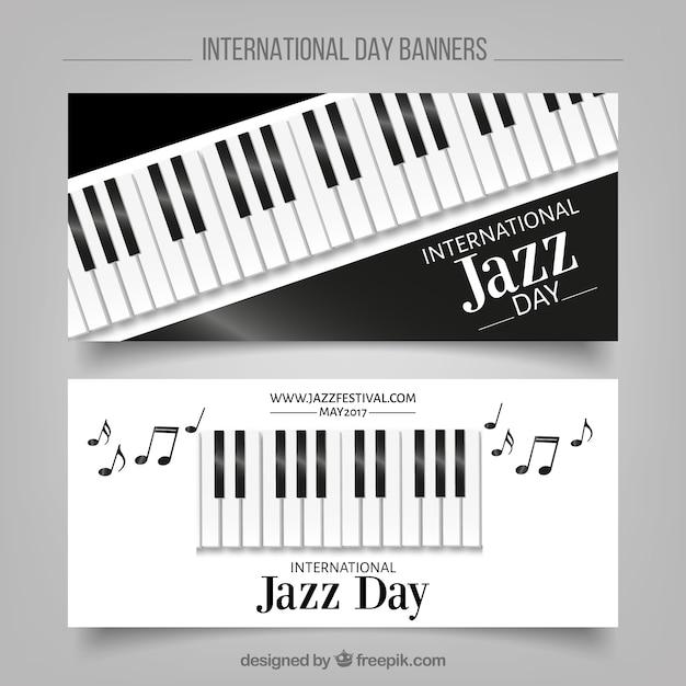 Bannières de jazz élégantes avec des touches de piano Vecteur gratuit