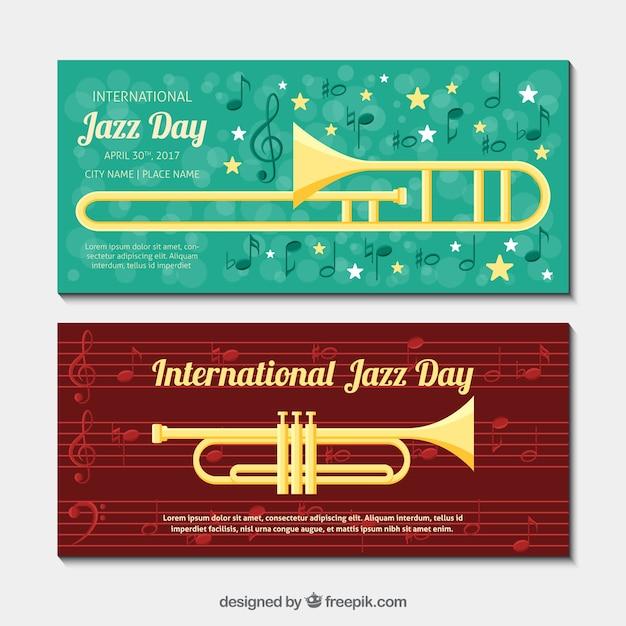 Bannières jazz avec des instruments de musique à plat Vecteur gratuit