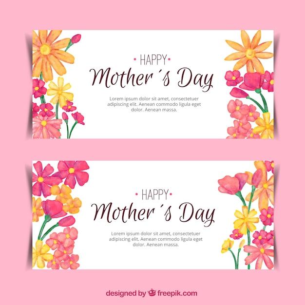 Bannières jolies avec décoration florale pour la fête des mères Vecteur gratuit