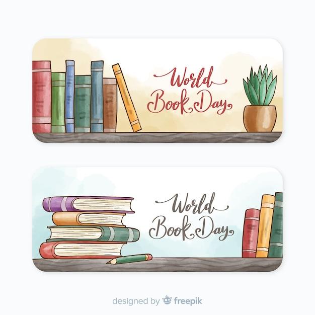 Bannières de jour du livre monde aquarelle Vecteur gratuit